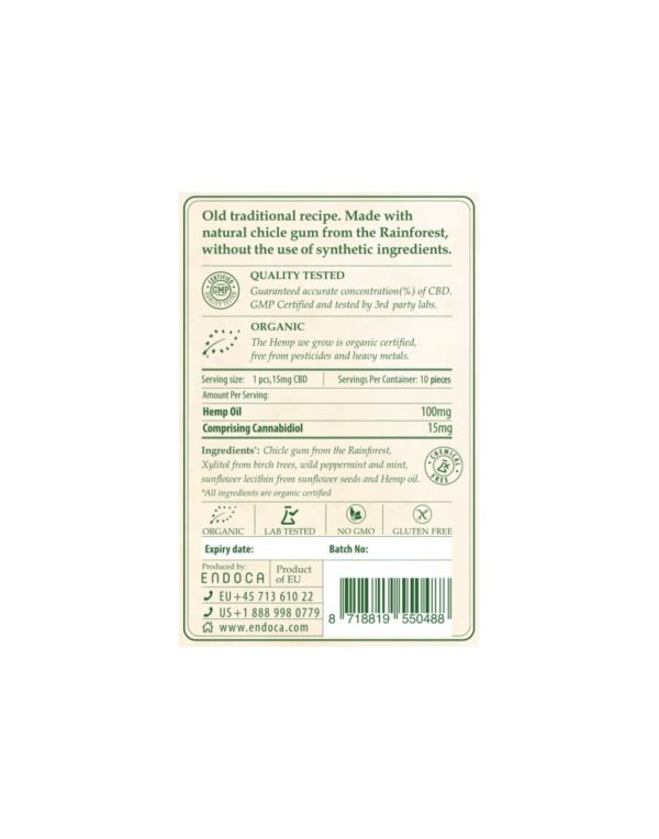Τσίχλα με CBD Κανναβιδιόλη Endoca 150mg | 15mg ανά τσίχλα - 10τεμ. πίσω όψη συσκεασίας