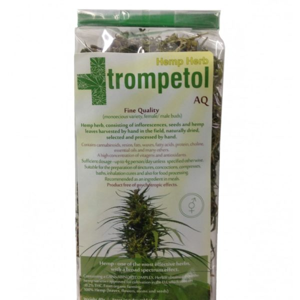 Trompetol Hemp Herb AQ Cannabis Sativa L CBD Tea for relaxation and good sleep.