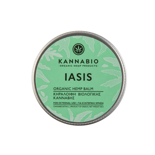 Beeswax Kannabio | Iasis Hemp Balm top view packaging.