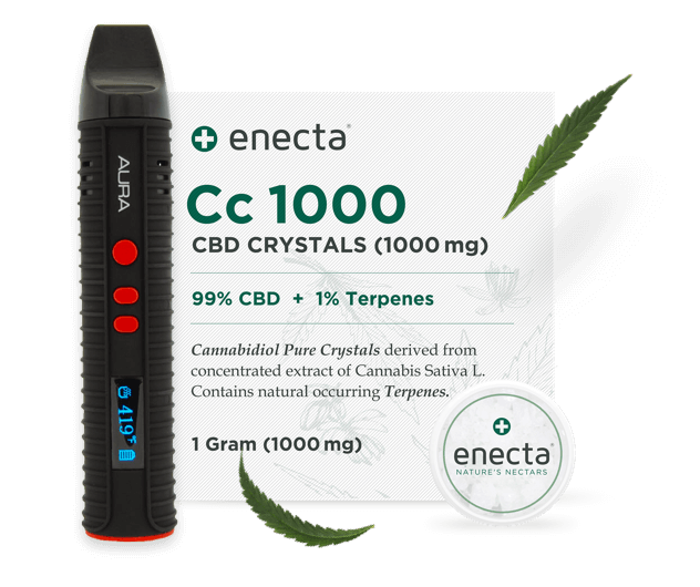 CBD Crystals from enecta and a vaporizer called flowermate.