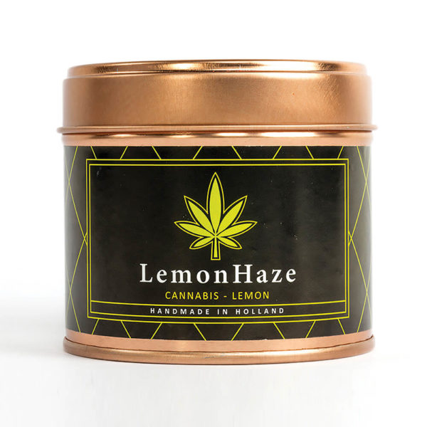 Cannacandles cannabis candle with lemon haze scent