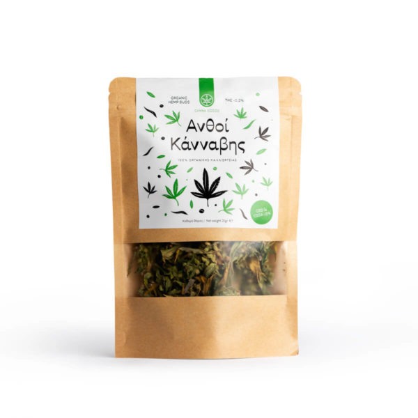 Raw Hemp Buds in DOY pack packaging from Hempoil.