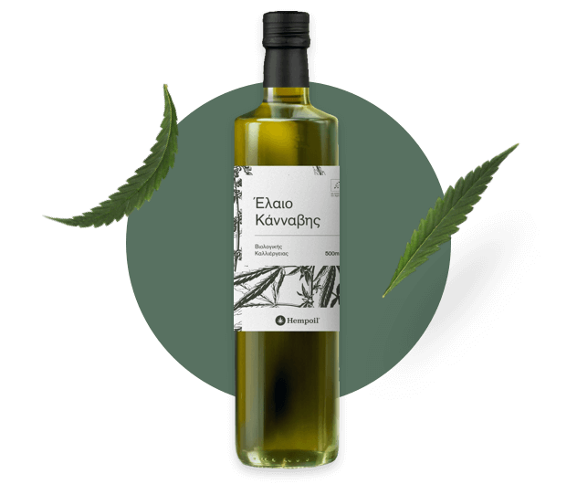 Raw hempseed oil bottle.