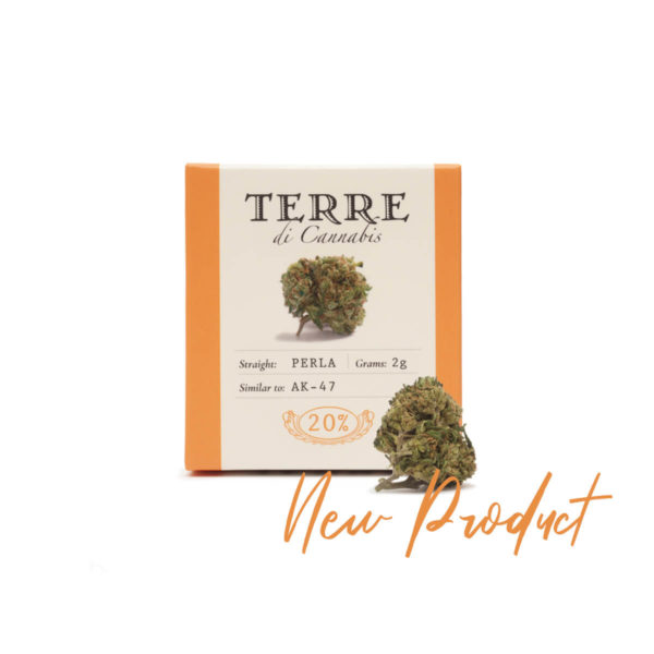 Packaging of Hemp Cannabis Flowers Terre Di Cannabis Perla with 20% CBD - product shot front
