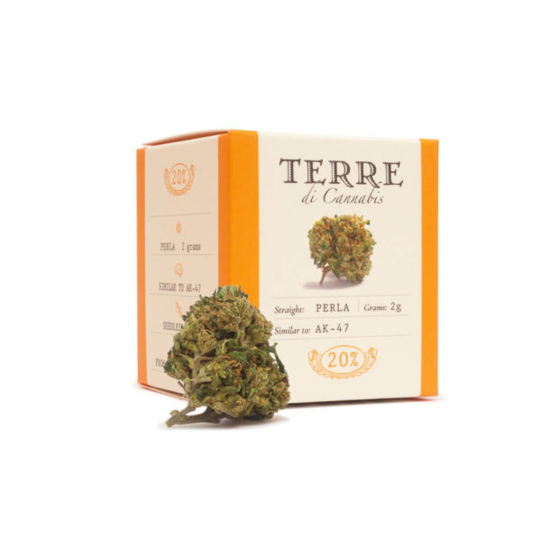 Packaging of Hemp Cannabis Flowers Terre Di Cannabis Perla with 20% CBD product shot right