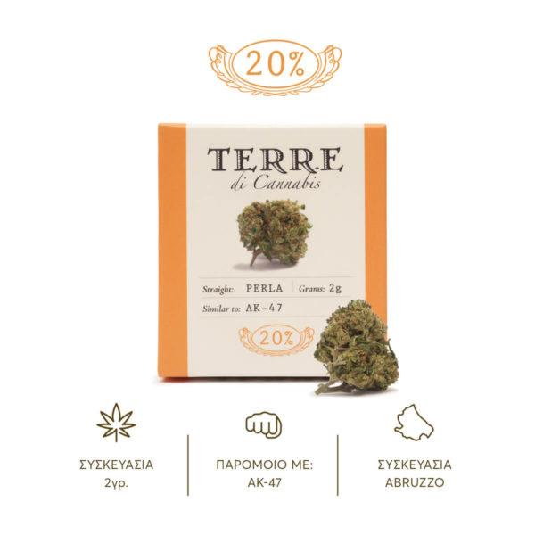 Packaging of Hemp Cannabis Flowers Terre Di Cannabis Perla with 20% CBD product shot with a cannabis bud