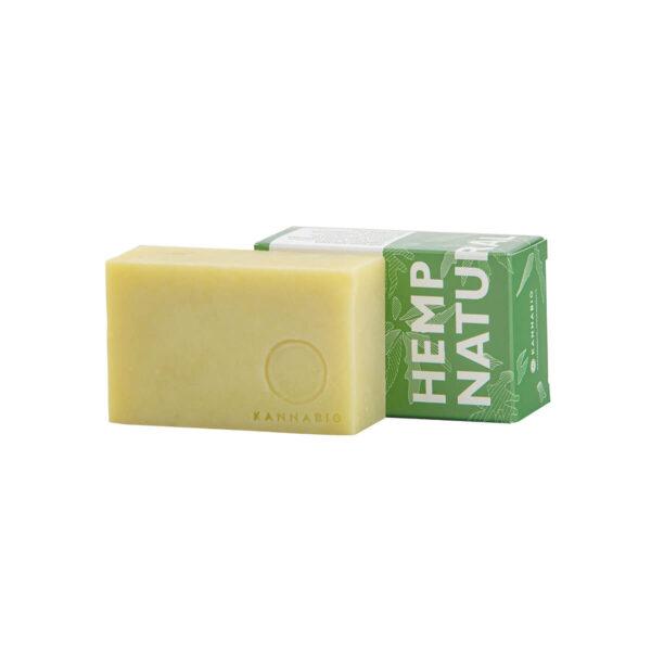 Organic hemp soap, handmade by Kannabio. Internal and external natural hemp packaging.
