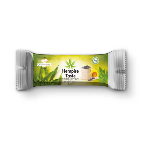 Hemp cereal bar packaging with hemp seeds and sunflower seeds from Hempire taste.