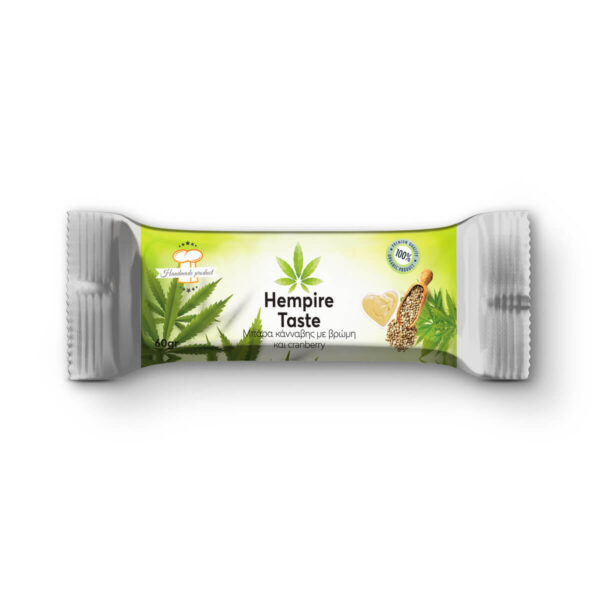 Packaging of a Cannabis Energy Bar with Hemp Seeds, Cranberries, Oats & sesame paste by Hempire Taste.