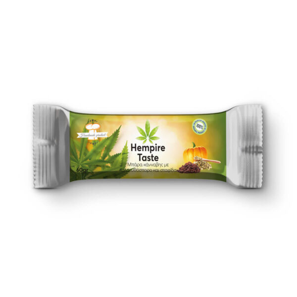 Packaging of Cannabis Energy Hemp Bar with Pumpkin Seeds, Hemp Protein & Raisins - 60gr