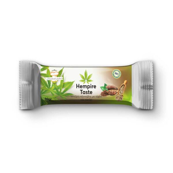 Συσκευασία μπάρας δημητριακών κάνναβης με σπόρους κάνναβης, ταχίνι και κακάο από την Hempire Taste.