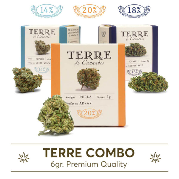 Cannabis Flowers Collection Terre Di Cannabis Perla, Volare, Popolo at the lowest price in Greece, Cyprus, Europe.