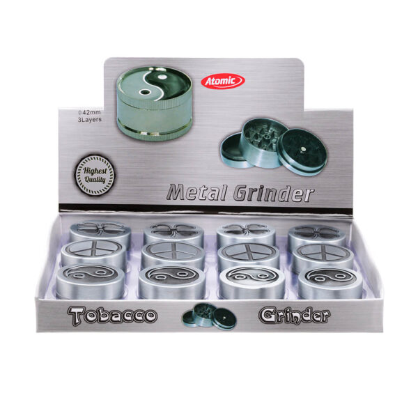 Atomic Grinder Antique Τρίφτης Καπνού Μεταλλικός 40mm 3 επιπέδων 12 τεμάχια display για χονδρική και λιανική αγορά