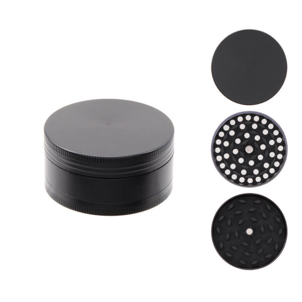 Atomic Grinder All Black Metallic 50mm 3 Parts of exceptional durability for grinding hemp flowers.