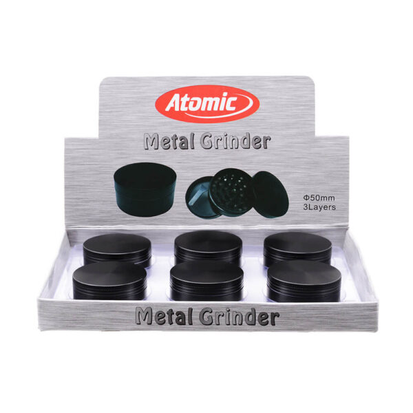 Atomic Grinder All Black Μεταλλικός 50mm 3 Parts 6 pieces made of durable metal and 3 levels for wholesale and retail.