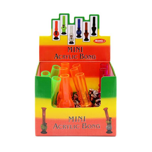 Atomic Mini Ακρυλικό Μπονγκ (Bong) 15 εκατοστά 12 τεμάχια display για λιανική χονδρική αγορά.