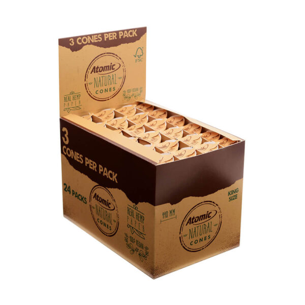 Atomic Prerolled Cones Natural with filter tip in wholesale display of 24 pieces.