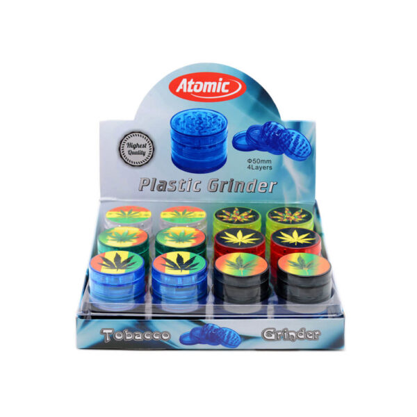Atomic Grinder Canna 50mm consisting of 4 parts with magnetιc closure. Comes in a variety of colors with Cannabis themed designs. Display set of 24 pieces