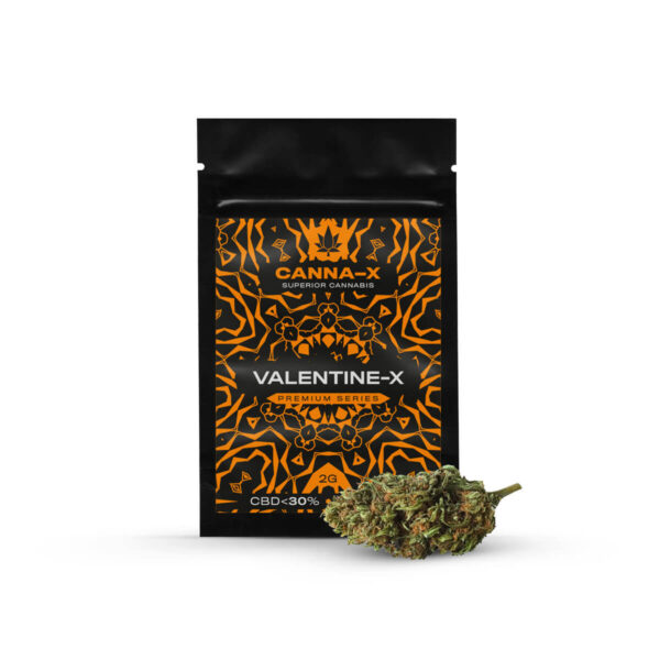 Canna-X Cannabis Flowers Valentine X Premium Series with 30% CBD Concentrate of 2 grams packaging.