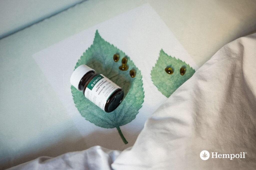 Κάψουλες enecta με έλαιο κανναβιδιόλης CBD σε συσκεασία