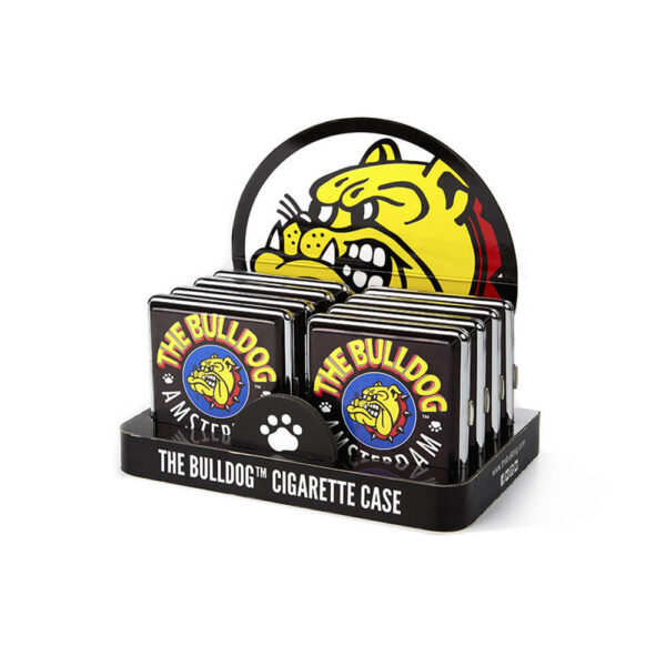 The Bulldog Amsterdam Metalic Cigarette Case in wholesale display of 12 pieces.