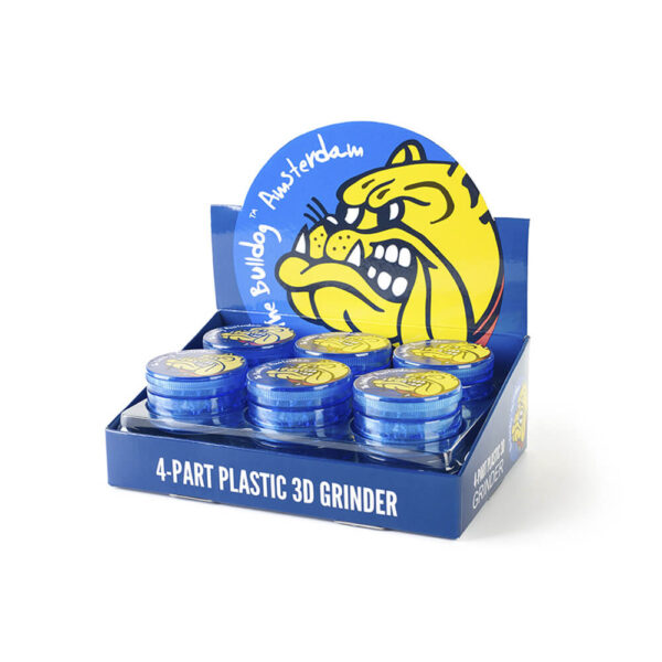 The Bulldog Amsterdam Grinder 60mm 4 Parts 12 pieces display for online wholesale and retail.