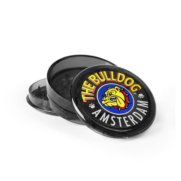 The Bulldog Amsterdam Grinder 60mm 3 Parts Black colour for grinding hemp flowers.