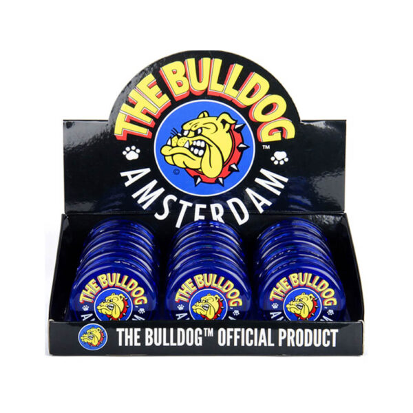 The Bulldog Amsterdam Grinder 60mm 3 Parts in various colours 12 pcs display for wholesale and retail.