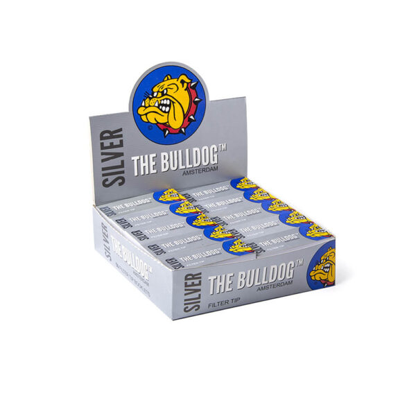 The Bulldog Amsterdam Filter Tips Silver 50pcs retail and wholesale for twisted cigarettes.