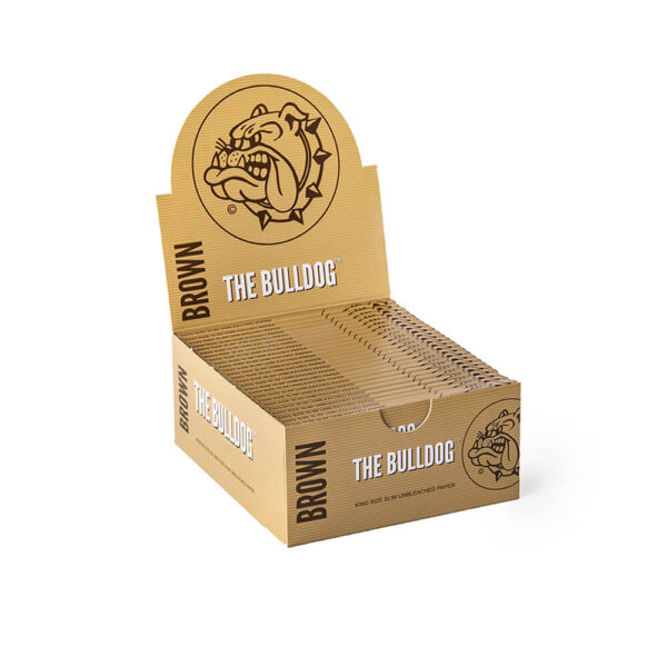 The Bulldog Amsterdam King Size Papers Brown Unbleached Raw 33 sheets - 50 pieces wholesale for twisted cigarettes.