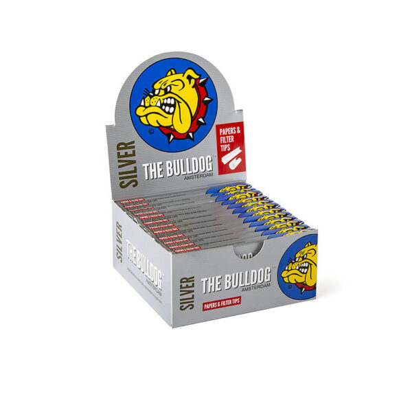 The Bulldog Amsterdam King Size Slim Papers Silver & TIPS with Filter Tips (roaches) 33 sheets – 24pieces for wholesale twisted hemp cigarettes.
