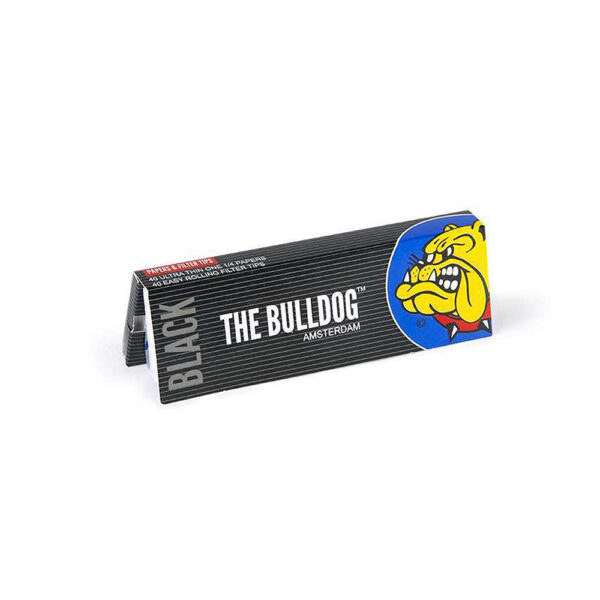 The Bulldog Amsterdam King Size Papers Black Medium 1&1/4 + TIPS with Filter Tips for twisted hemp flower cigarettes.