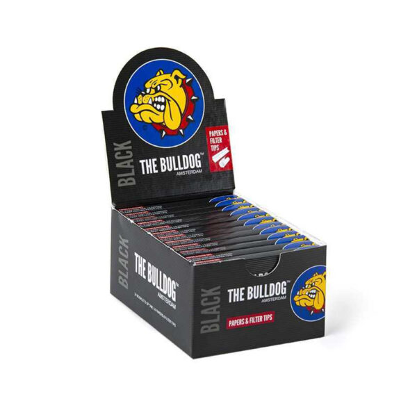 The Bulldog Amsterdam King Size Papers Black Medium 1&1/4 + TIPS with Filter Tips - in a 24 pcs wholesale display