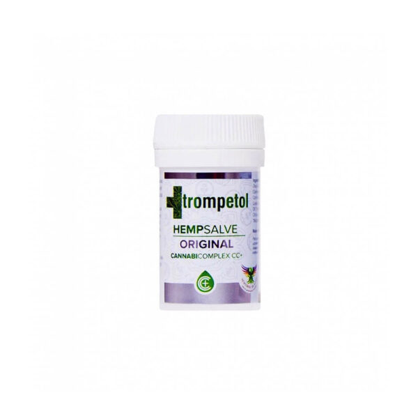 Trompetol Hemp Salve Original Regenerate with 30ml content for skin conditions such as proriasis, burns.