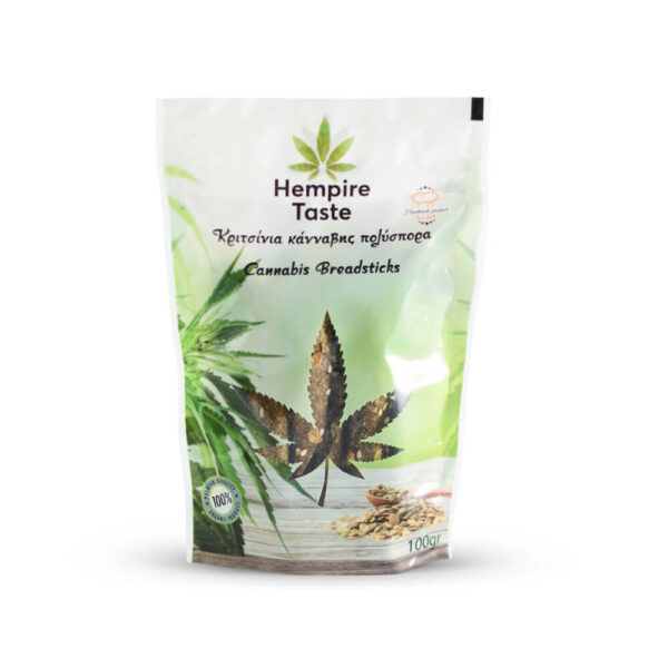 Hempire Taste | Cannabis Multiseeded Breadsticks - 100gr in an air-sealed packaging for a healthy daily break.