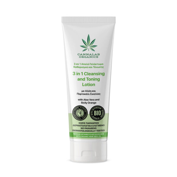 Cannalab Organics 3 in 1 Cleansing & Toning Lotion with Aloe Vera & Sicily Orange of 125ml product image.