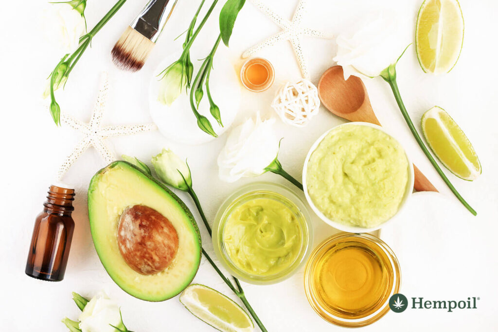 Home made hair mask recipe with CBD Oil, Virgin Olive Oil and avocado.