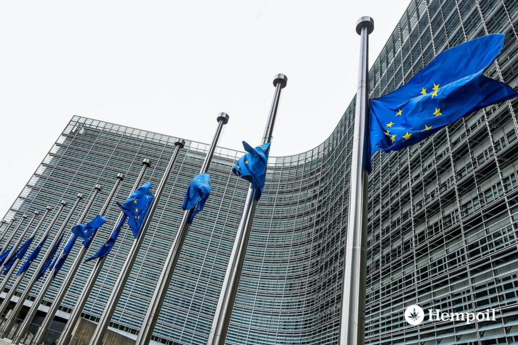 Flags on the Court of Justice of the European Union
