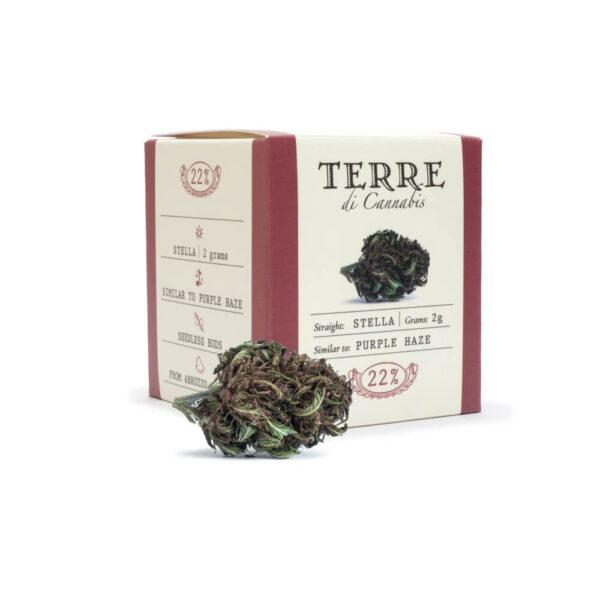 Terre Di Cannabis Stella - 2γρ. - φωτογραφία συσκευασίας και ανθού - 2