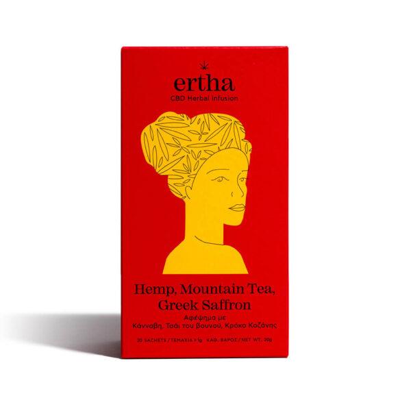Συσκευασία βιολογικό τσάι της Ertha CBD Herbal Infusion Αφέψημα με Κάνναβη, Τσάι του Βουνού και Κρόκο Κοζάνης 20 τεμαχίων