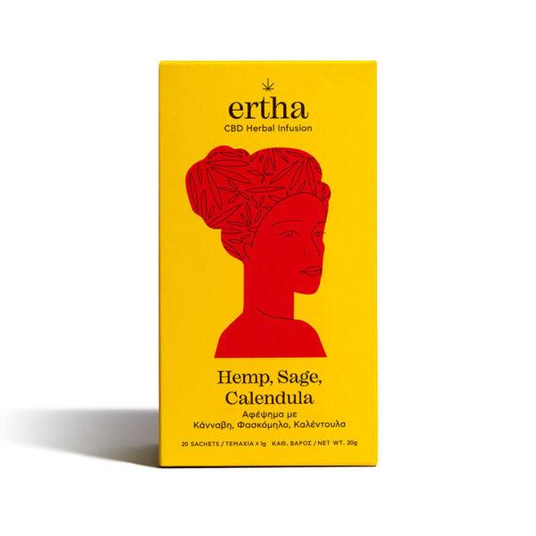 Συσκευασία βιολογικό τσάι της Ertha CBD Herbal Infusion Αφέψημα με Κάνναβη Φασκόμηλο & Καλέντουλα