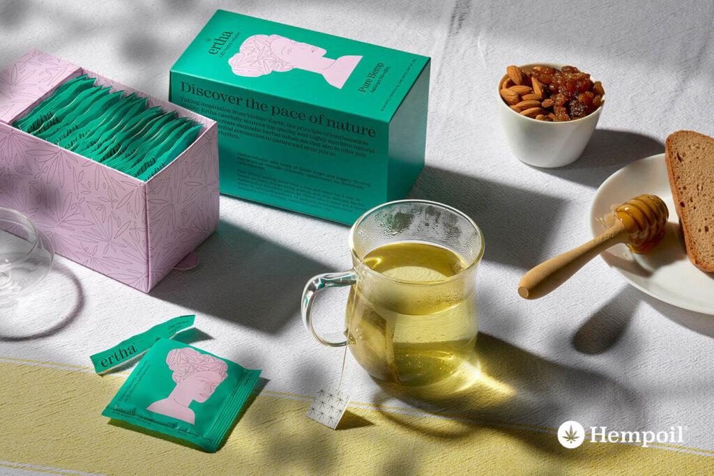 CBD τσάι κάνναβης της ERTHA από βιολογικές καλλιέργειες και βότανα της Ελλάδας.