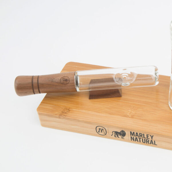 Marley Large Steam Roller - Glass pipe from the official Bob Marley Brand with a wooden base. Great for smoking CBD Cannabis Flowers.