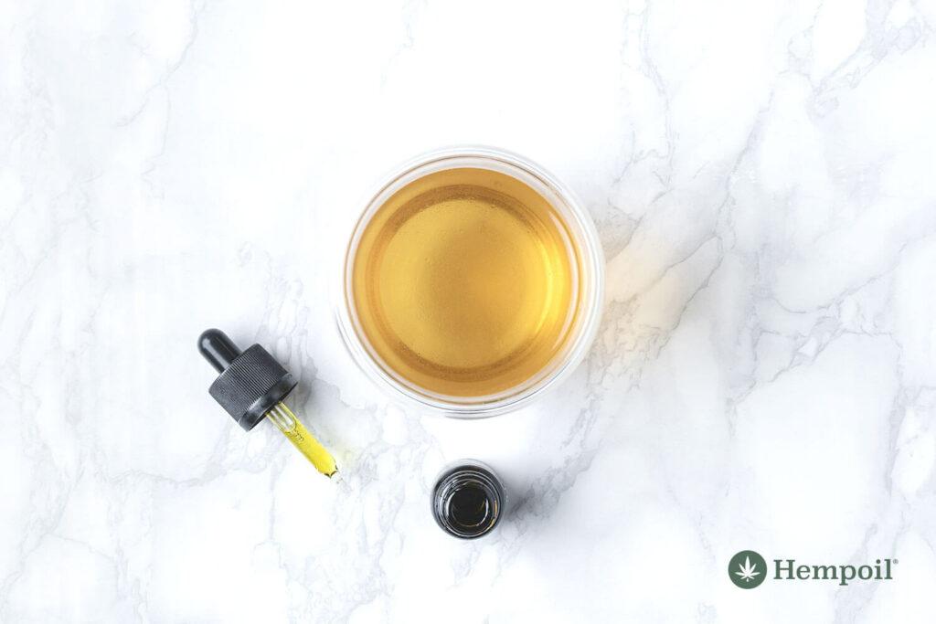 CBD oil bottle with dropper