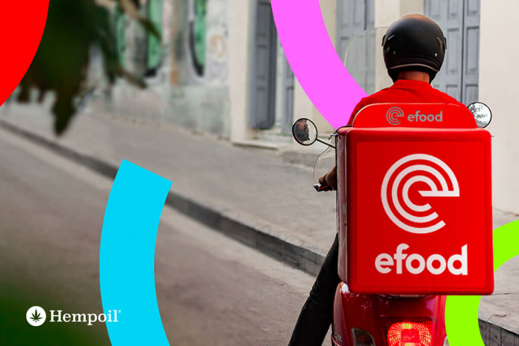 delivery προϊόντων κάνναβης μέσω της εφαρμογής του efood από την Νο1 εταιρεία κάνναβης Hempoil