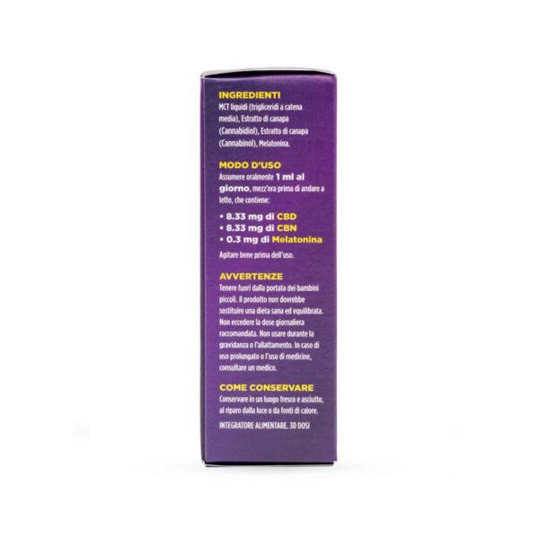 CBNight Formula Plus enecta (CBD, CBN, Melatonin) packaging. Italian Product, natural, best price in Europe.