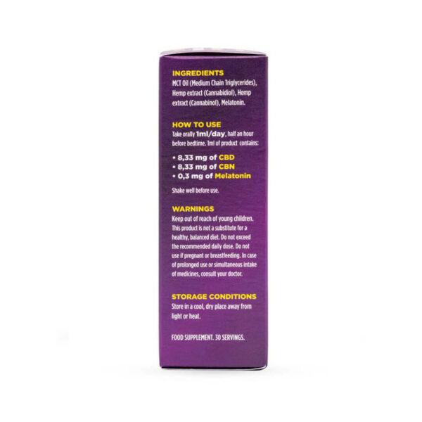 CBNight Formula Plus enecta (CBD, CBN, Melatonin) packaging side 2 with cannabidiol, cannabinol and melatonin for better sleep.
