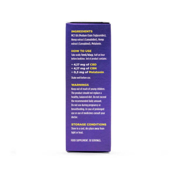 CBNight Formula enecta (CBD, CBN, Melatonin), 30 ml packaging bottle and box. Greece, Italy, Cyprus.