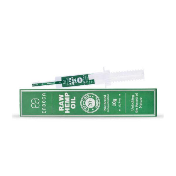 Endoca RAW Hemp Oil Extract Paste 2000mg CBD+CBDa 20% laying view, 10 grams container.