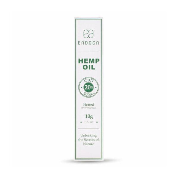 Endoca Hemp Oil Extract 2000mg CBD Cannabidiol 20% - 10grams heated box front view. Athens CBD.